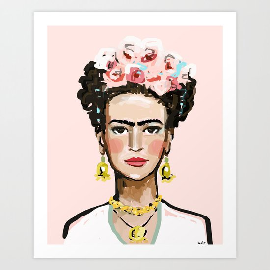 Frida on Soft Pink by devinepaintings