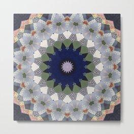 Patchwork Whimsy -- Vintage Block Quilt Mandala Kaleid0scope Metal Print