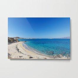 Orkos beach of Naxos island in Cyclades, Greece Metal Print