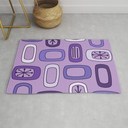 Midcentury MCM Rounded Rectangles Purple Rug