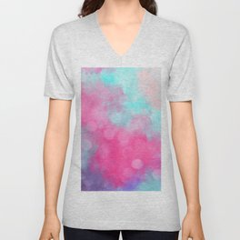 Abstract teal bright pink bokeh clouds Unisex V-Neck