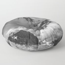 Lake Louise Black and White Minimalism Photography | Black and White | Photography Floor Pillow