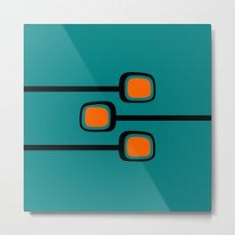 Mid Century Modern Branches - Orange on Teal Metal Print