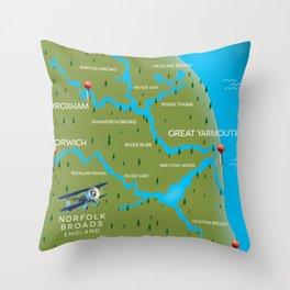 Norfolk Broads England navigation map. Throw Pillow