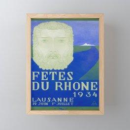 lausanne fetes du rhone 1934  vintage Poster Framed Mini Art Print