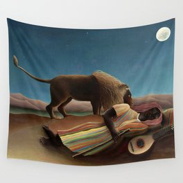 'The Sleeping Gypsy' Lion and Moon While Sleeping in the Desert by Henri Rousseau Wall Tapestry