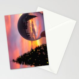 Pink Lensball Crystal Ball Christmas in California Stationery Cards