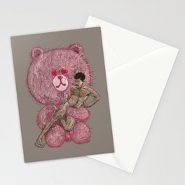 One Guy One Pink Bear  Stationery Cards
