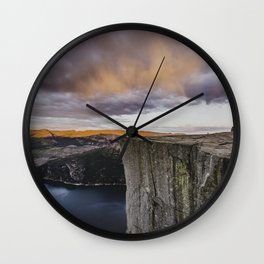 Rainbow over Preikestolen Wall Clock