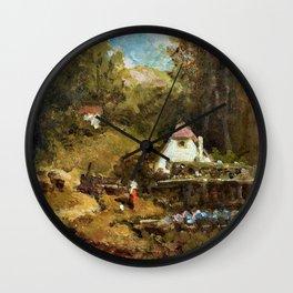 Homestead By The Stream And Girls - Carl Spitzweg Wall Clock