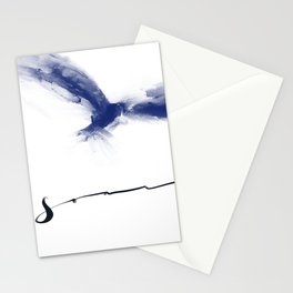Soar Blue Abstract Bird with Lettering Stationery Cards