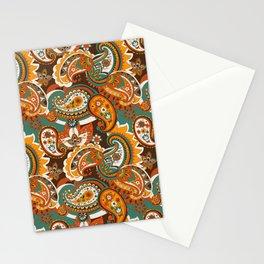 Paisley retro 60s 70s Orange, Yellow, brown Stationery Cards