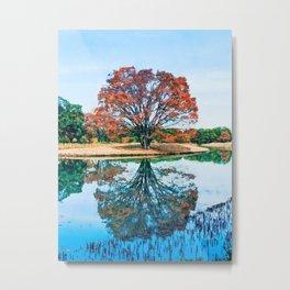 Cherry tree watercolor painting Metal Print