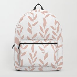 Blush Pink Minimalist Leaves Pattern Backpack