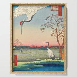 Red-crowned Crane Vintage Ukiyo-e Japanese Art Serving Tray