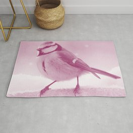 eurasian passerine bird magenta purple tone bird art washed out effect aesthetic wildlife photo Rug