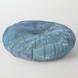 Metallic blue abstract watercolor Floor Pillow