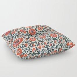 Shakhrisyabz Suzani  Uzbekistan Antique Floral Embroidery Print Floor Pillow