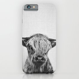 Highland Calf - Black & White iPhone Case