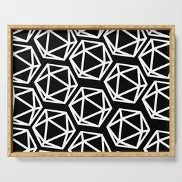 D20 Pattern - White & Black Serving Tray