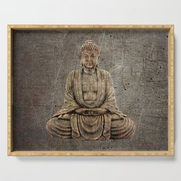 Sitting Buddha On Distressed Metal Background Serving Tray