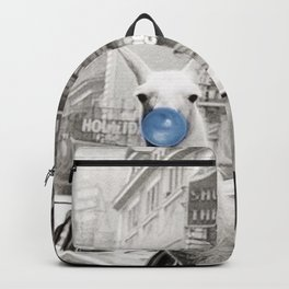 Yummy Blue Bubble Gum Llama taking a New York Taxi black and white photography Backpack