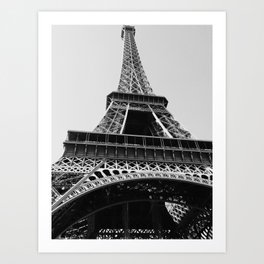 Eiffel Tower // Looking up at the World's Most Famous Monument in Paris France Classic Photograph Art Print