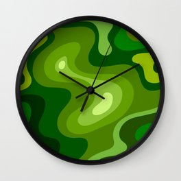 Multi Color Green Liquid Abstract Design Wall Clock