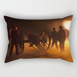 """""""Artillery Hell"""" Night firing of original Civil War 6 lb. bronze canons. Rectangular Pillow"""