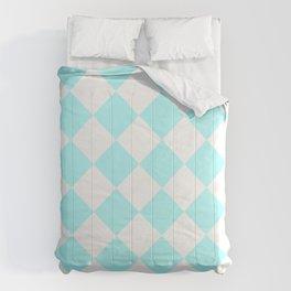 Large Diamonds - White and Celeste Cyan Comforters
