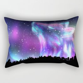 Northern landscape with howling wolf spirit and aurora borealis Rectangular Pillow