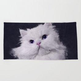 Shiny - the white Persian cat Beach Towel