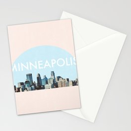 Minneapolis Minnesota Skyline Typography Simple Stationery Cards