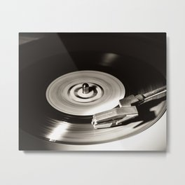Music From a Vintage 45 RPM Record Playing on a Turntable 5 Metal Print