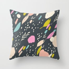 Paint doodle: abstract bright colour pops on black Throw Pillow