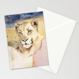 Lioness Watercolor Painting  Stationery Cards
