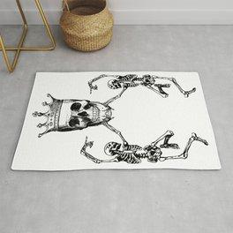 Skull King and Dancing Skeletons | Vintage Skulls | Vintage Skeletons | Black and White | Rug