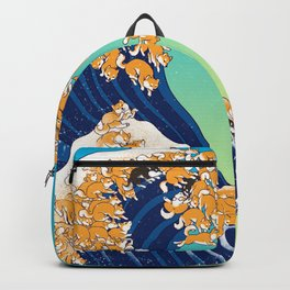 Shiba Inu in Great Wave Backpack