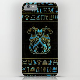 Egyptian Cats Gold and blue stained glass iPhone Case