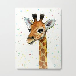 Baby-Giraffe-Nursery-Print-Watercolor-Animal-Portrait-Hearts Metal Print