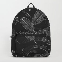 Black & White Banana Leaf Pattern Backpack