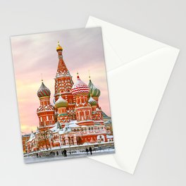 Snowy St. Basil's Cathedral Stationery Cards