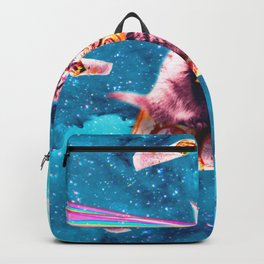 Space Cat Eating Pizza - Rainbow Laser Eyes, Burrito Backpack