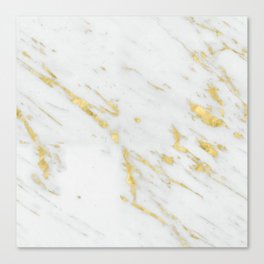 Luxury white marble gold accent Canvas Print