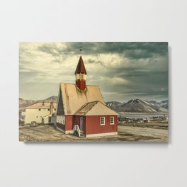 The Our Saviour´s Church in Longyearbyen, Svalbard. Metal Print