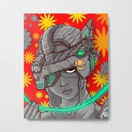 Grey Machine Portrait of a Person Metal Print