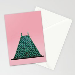 magic roof in Budapest (green) Stationery Cards