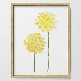 two abstract dandelions watercolor Serving Tray