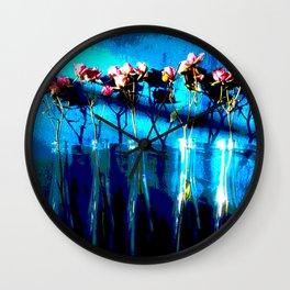 February Blue Series, Rosebuds & Bottles Wall Clock