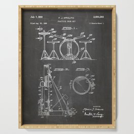 Drum Set Patent - Drummer Art - Black Chalkboard Serving Tray